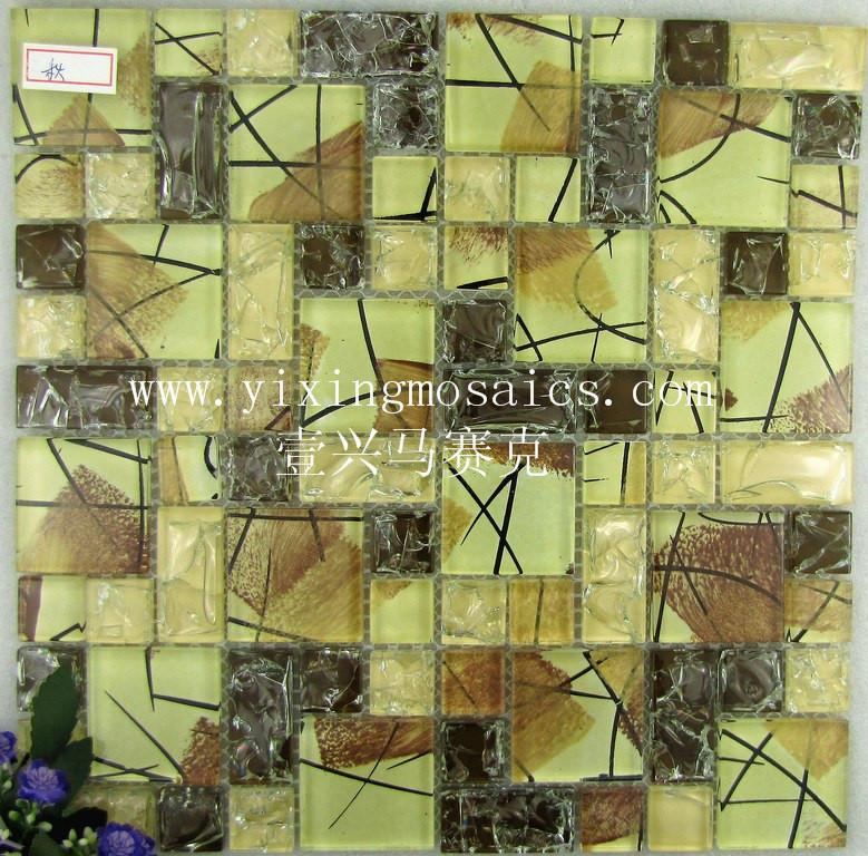 Ct-101 amarillo otoño color transparente cristal mosaico de vidrio ...