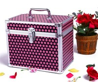 Red dotted fancy cosmetic case with high quality with mirror RZ-SC-041
