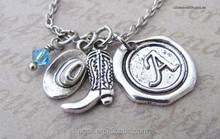 Personalized Antique Silver Cowboy Hat and Boot Charms Necklace