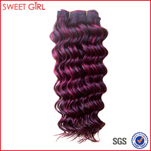 French curl 18 inches side by side color remy Russian human hair weft