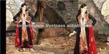 Long Stylist Black Colorful Anarkali Shalwar Kameez