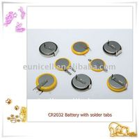 CR2032 3V lithium coin cell battery with pcb tabs / pins / tagged