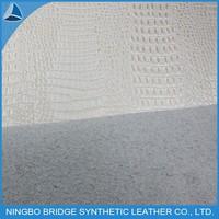 1108008-3439-1-2 Ningbo Bridge Free Sample Available Silvery Crocodile Flocking Corium Pu