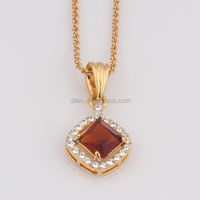 Fashion Long Chain High Quality New Design 18K Gold Plated Ruby Beads Necklace Design
