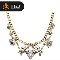 Classic rhinestone alloy plated summer accessories for women tear shape chain fashion necklace