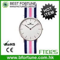 FT1325 Classic Fashion 3 hands Alloy plasticQuartz rohs CE low price 3atm fabric watch