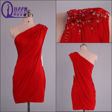 Cheap Real Picture of One Shoulder Sheath Beaded Red Short Cocktail Dress 2014