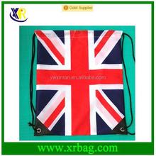 Custom fashion promotional UK flag polyetser drawstring backpack bag