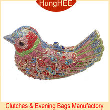 Colorful jewelled Beautiful crystal bird clutch evening party bags IF-HC2062