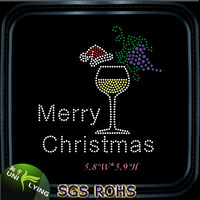 Merry christmas wine glass rhinestone iron ons transfer
