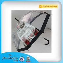 PVC Clear Dome Shaped Rain Transparent Custom Print Vinyl Umbrella