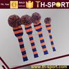 Classic Knit Spandex Pom Pom Golf Headcovers for Drivers, Fairway Woods, Hybrids