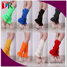 stylish plain shiny color boot socks acrylic knit leg warmers for women