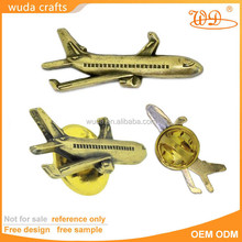 Russia country 3D gold plating airplane pin badge with butterfly clutch
