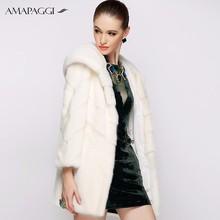 Vente de l'usine de la mode hiver vison blanc manteau de fourrure ousterwear pour femmes