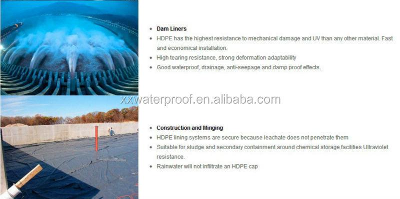 Pehd en plastique rouleau membrane pour sommth for Construction piscine geomembrane