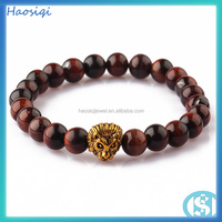 Red tiger eye stone bead bracelet with lion head