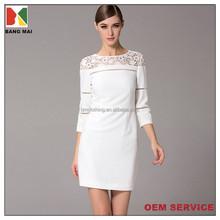 oem new design high quality elegant 3/4 length sleeve round neck mid calf length dress for women