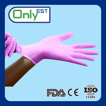 9 inch pink disposable nitrile gloves for medical with FDA