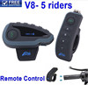 5 riders wireless motorcycle helmet bluetooth intercom waterproof bt multi interphone with NFC FM radio and remote control