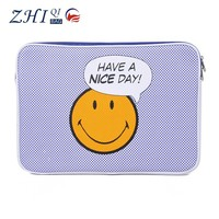Kids fancy leather shockproof 17.5 inch laptop bag to carrying computer sleeve case with smile print