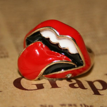 European fashionable carnival halloween party flaming red lips finger ring