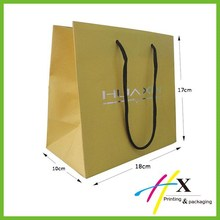 2015 new arrival promotion large gift bag yellow color ivory board shopping paper bag