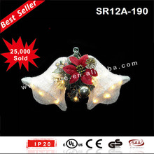 Sisal LED hanging double Christmas bell