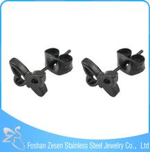 Fashion Stainless Steel Butterfly Shaped Real Earring Studs, Black Ear Studs For Piercing