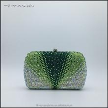 lady diamante evening bridal prom purse handbag multi green crystal clutch bag TFC1619