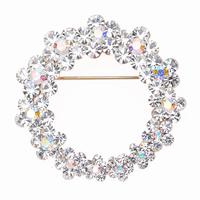 Wholesale decorative brooch fashion custom made circle rhinestone chair sash brooch