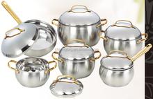 12pcs gold plated handle apple shape cookware set/houseware