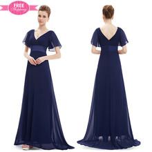 ShiJ Half Sleeve Gathers Low Back V-neckline Floor-Length Mother Of The Bride Dress