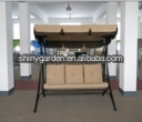 3 person seat garden swing chair bed powder coating metal frame