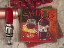 Art Deco Red Wine Design Coaster and Bottle Stopper Set