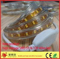 AC 110V/220V SMD 5730 72LEDs/M 2900LM/M IP68 8mm PCB with CE/RoHS/LVD flexible led strip light