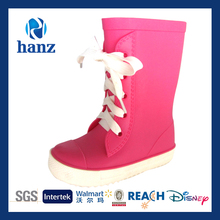 2014 New Style Child's Lace-up PVC Rain Boots Plum Red Wholesale