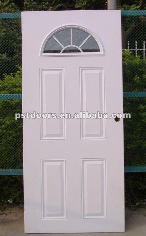 Steel half moon glass door glass metal door 4 panel steel for Puertas metalicas exterior
