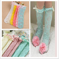 Wholesale Korea Bowknot Hollow out Lace Baby Girls Lace Socks