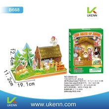 Educational diy The Birth of Jesus 3D paper puzzles for kids