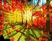 sunset forest landscape oil canvas painting by numbers GX6646 paint boy EN71-123,CE