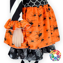 2015 Fashion Black White Chevron Orange Black Spider Toddler Baby Girls Halloween Boutique Clothing Sets For Infant