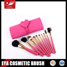 EYA 10pcs cute pink make up brushes with heart-shaped pouch