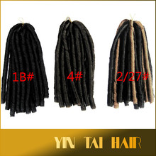 "wholesale cheap price high quality 15"" fold 7 strands 1# 1B# 4# 2/27# color synthetic dreadlock braids for black women"