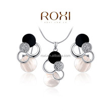 ROXI New Designed White Gold Plated Cloud Crystal Clip-on Earring Hot sale Fashion Women's Jewelry Set