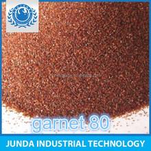 Water jet cut rubber and glass/abrasive garnet mesh 80