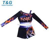 No MOQ open shoulder sublimated cheer uniform