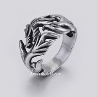 Trendsmax Rock N' Roll Punk Black Silver Tone Fire Dragon Mens Boys 316L Stainless Steel Ring