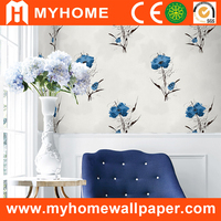 China stereoscopic wallpaper price, waterproof flower wallpaper for bathrooms