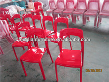 ABS material red outdoor stacking chairs